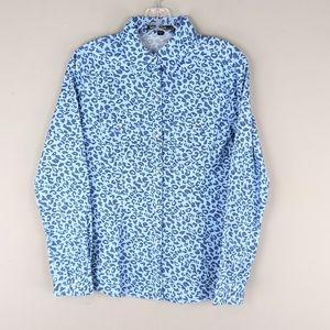 Love Stitch   Blue Leopard Print Button Down - E89